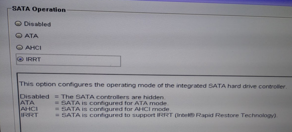 BIOS nastavení SATA rozhraní